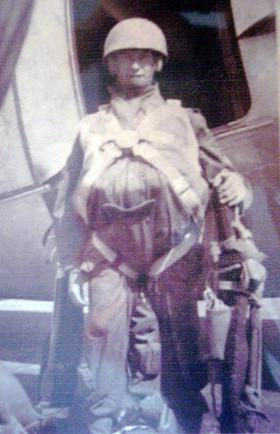 L/Cpl William (Bill) McClusky preparing to emplane for Cyprus drop, c1951