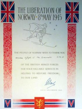 Pte John L McDermott, Liberation of Norway Certificate, 1945