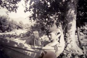 L/Cpl McClusky resting on exercise in Cyprus, c1951
