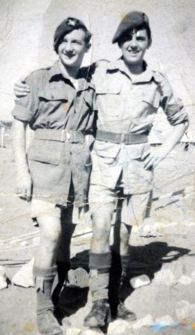 Pte Andy McManus on right, Palestine, c1946.