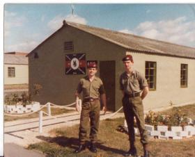 Anthony Rogers and colleague outside the RAF Police dog section hut Brize Norton circa 1981