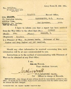War Office notification to the family of Pte Meadows confirming his capture as a Prisoner of War, 2 November 1944
