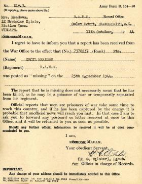 Letter to Mrs Meadows notifying her that Pte Meadows was posted as Missing in Action, 25 Sept 1944.