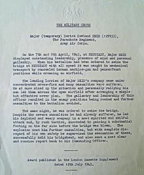 Military Cross Citation for Major 'Tiger' Reid 1945