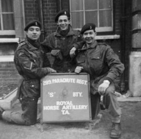 Members of S Battery 289 Parachute Regiment RHA outside their Drill Hall 1960s