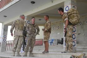 Members of 3 PARA greet Canadian servicemen, Kandahar, Afghanistan, June 2008