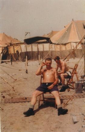 Members of B Company 1 PARA relaxing in Radfan Camp, Aden, 1967