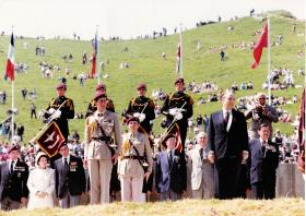 The Colonel in Chief, President of France and Gen Frost, Bruneval, 1982.