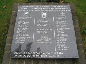 Memorial to those of the Parachute Regiment and Airborne Forces killed in the Falklands.