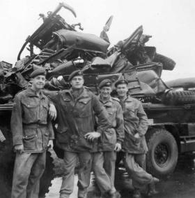 Men of 2 PARA stand in front of the remains a 1 Tonner after a Heavy Drop failure at Swindon, late 1950s