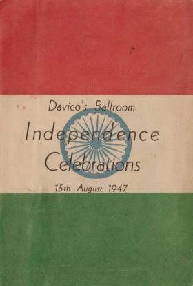 Menu for independence celebrations India 15 August 1947
