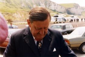 Maj Gen John Frost at Bruneval Commemoration 19/20 June 1982.