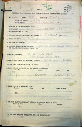 MI9 Escape and Evasion Report by Major John Timothy, 1945.