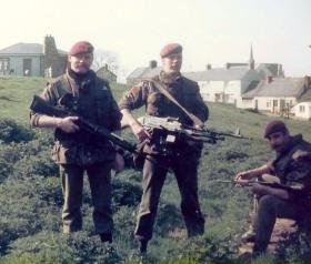 Mick Flannigan, Ian Barrie and Jack Fisher, A Coy, 1 PARA, town patrol Crossmaglen, 1978.