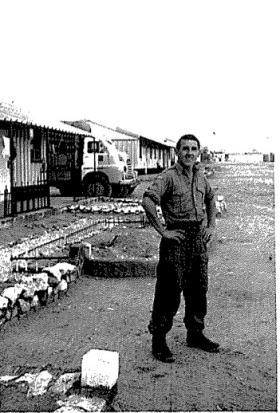 Mick Murray of F (Sphinx) Bty, 7 Para Lt Regt RHA, on a camp in Bahrain c1963.