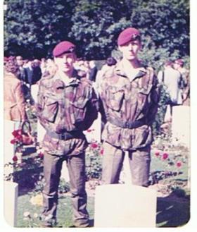Mike Irwin and Bob Sturtivant at Oosterbeek War Cemetery, Arnhem c1978.