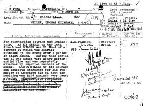 Citation for award of Military Cross to Lt TE Miller MM, Normandy, 1944.