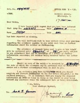 Letter to Mrs Gannon concerning allowance payable, 1944.