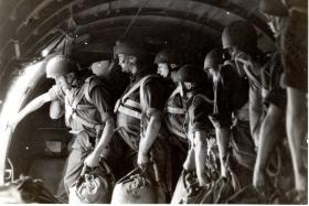 Paras wearing Helmet, Steel Airborne Troops (HSAT) Mk I and Mk II, early 1950s.