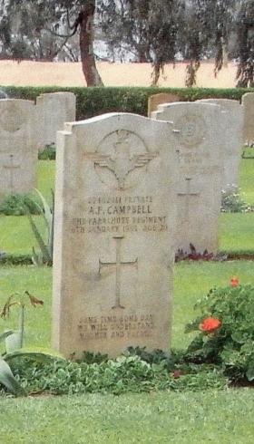 Headstone of Pte Alan Campbell, Moascar War Cemetery, 1990s.