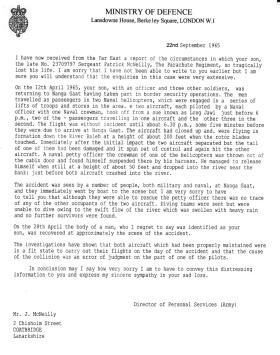 Ministry of Defence Letter to the father of Patrick McNeilly, 22 September 1965.