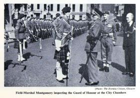 Field Marshal Montgomery inspecting the Guard of Honour, 15 PARA Colours Presentation, Glasgow 1952.