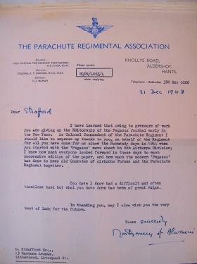 Letter from Field Marshal Montgomery to Charles Strafford December 1948