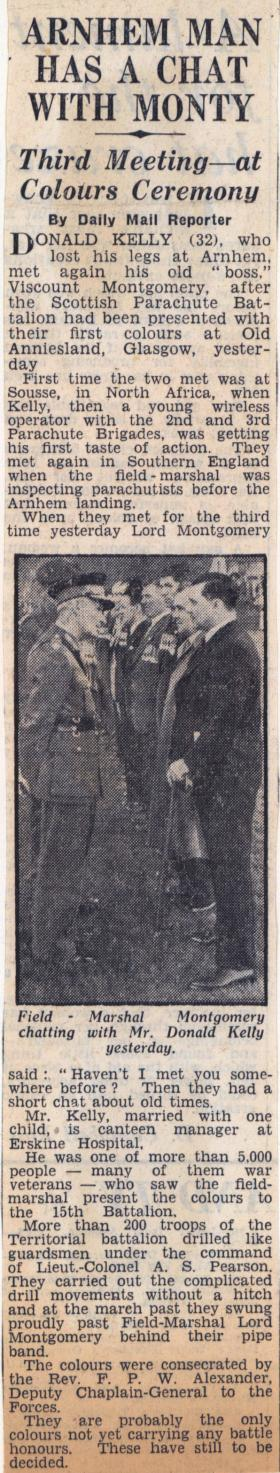 Field Marshal Montgomery meets Donald Kelly at 15 PARA Colours presentation, 1952.