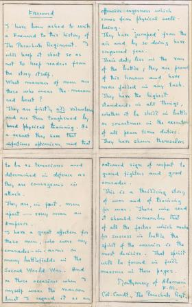 "Hand written foreword by FM Montgomery of Alamein for the book ""The Red Beret"", 1950."