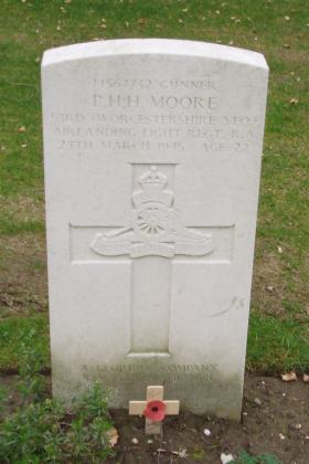 Headstone of L/Bdr PHH Moore, Reichswald Forest War Cemetery Germany, 2010.