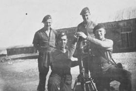 Members of 6th Para Bn posing with a mortar, Palestine c1946
