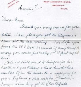 A letter from Colonel Hill's mother to Corporal McCord, 21 March 1943.