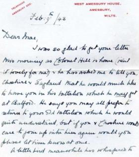 A letter from Colonel Hill's mother to Corporal McCord, 9 Feb 1943.