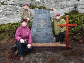 3 PARA veterans unveil the new McKay VC Memorial at Mount Longdon, 23 March 2015.