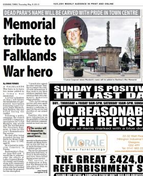 Memorial for L/Cpl 'Doc' Murdoch, Evening Times, 9 May 2013.