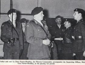 Maj Gen Farrar Hockley at Passing Out Parade for 371 platoon, 1972.