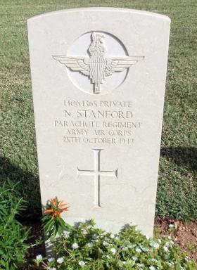 Grave of Pte N Stanford, Khayat beach Cemetery, 1 January 2015.