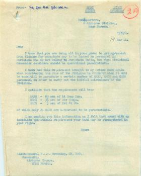 Letter from Maj-Gen Gale to Lt-Gen Browning about parachute training support troops.