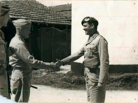 General Eisenhower shakes the hand of Lieutenant Colonel Frost.