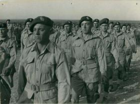 Men of 1st Battalion Border Regiment marching off from Church Parade, July 1943