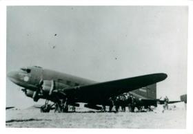 Men from 1st Parachute Battalion emplane a Dakota aircraft for a drop at Souk-El-Arba.