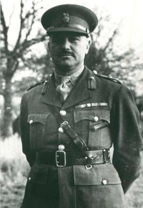 Brigadier Flavell, Commander of 1st Parachute Brigade  faces the camera in his uniform.