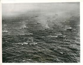 Many Allied ships can be seen en route to Operation Torch.