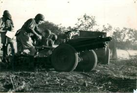 Members of Ist Airlanding Light Regiment RA with artillery.