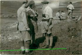 General Down OBE and two other officers on a Battlefield Tour in the Tamera Valley, 1943.