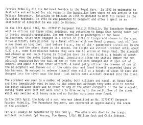 Report on helicopter crash at Nanga Gaat, Borneo, 1965.