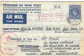 Letter to PoW Pte Baker, from his wife Gladys, 5 December 1944.