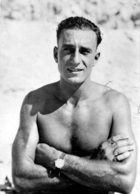 Sgt Sennett, Nathania Beach Palestine, July 1946.