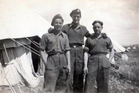 Three members of the 211 Airlanding Light Battery RA, Nathanya, Palestine, 4 June 1946.