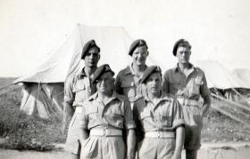 5 soldiers of the 211 Airlanding Light Battery RA, Nathanya, Palestine, 3 April 1946.